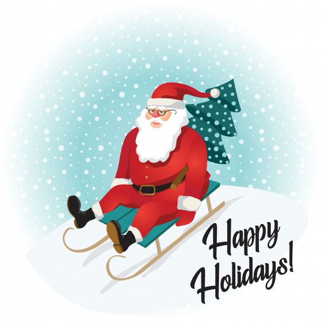 626x626 Funny Santa Claus Sledding With Mountains Vector Premium Download