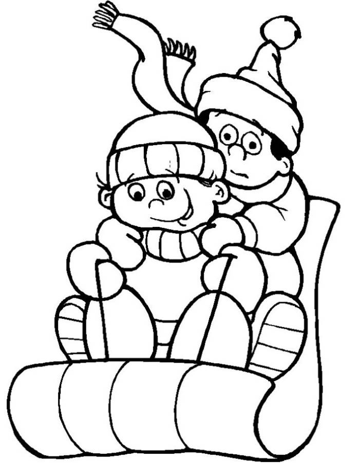 695x900 Sledding Coloring Pages