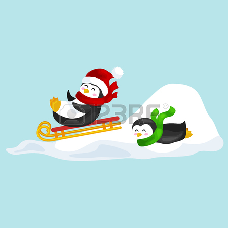 450x450 Two Happy Cute Christmas Penguin In Hat And Scarf Sledding Snow