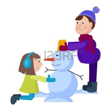 450x450 Christmas Kids Playing Winter Games. Sledding Girl Dresses Up