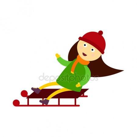 450x450 Christmas Kid Playing Winter Games Sledding Girl Playing Cartoon