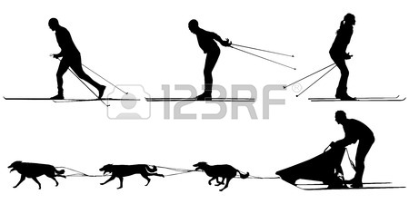 450x225 Cross Country Skiing And Dog Sledding Sport Silhouette Royalty