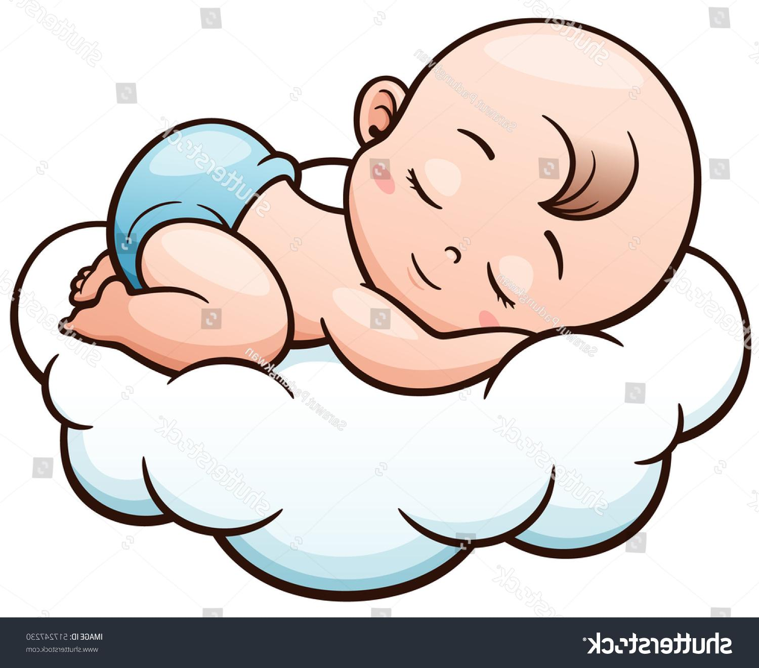 1500x1320 Top 10 Stock Vector Illustration Of Cartoon Baby Sleeping On Cloud