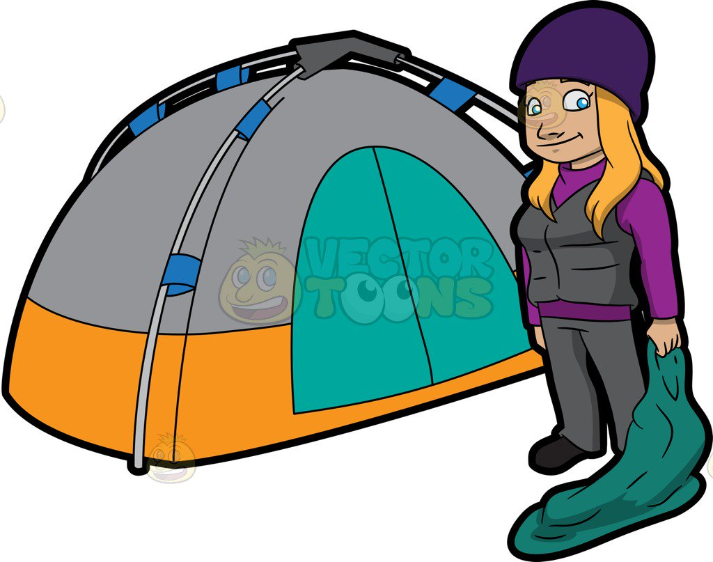 1024x807 A Female Camper Carrying A Sleeping Bag Cartoon Clipart