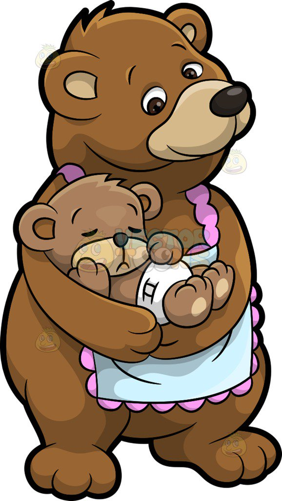 578x1024 A Mama Bear And Her Sleeping Cub Cartoon Clipart