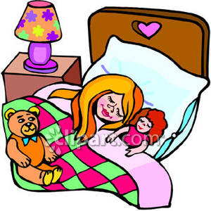 300x300 Young Girl Sleeping In Bed With Her Doll And Teddy Bear Close By