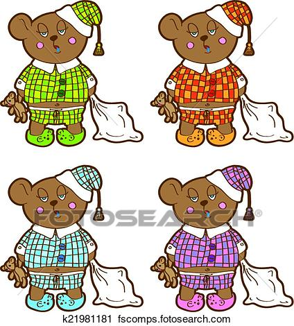 424x470 Clipart Of Sleepy Bear In Pajamas With A Pillow And Soft Toy His