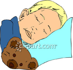 300x288 Little Boy Sleeping With A Teddy Bear Royalty Free Clipart Picture