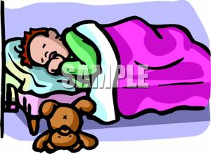 300x220 Picture A Boy Sleeping In Bed With His Teddy Bear On The Floor