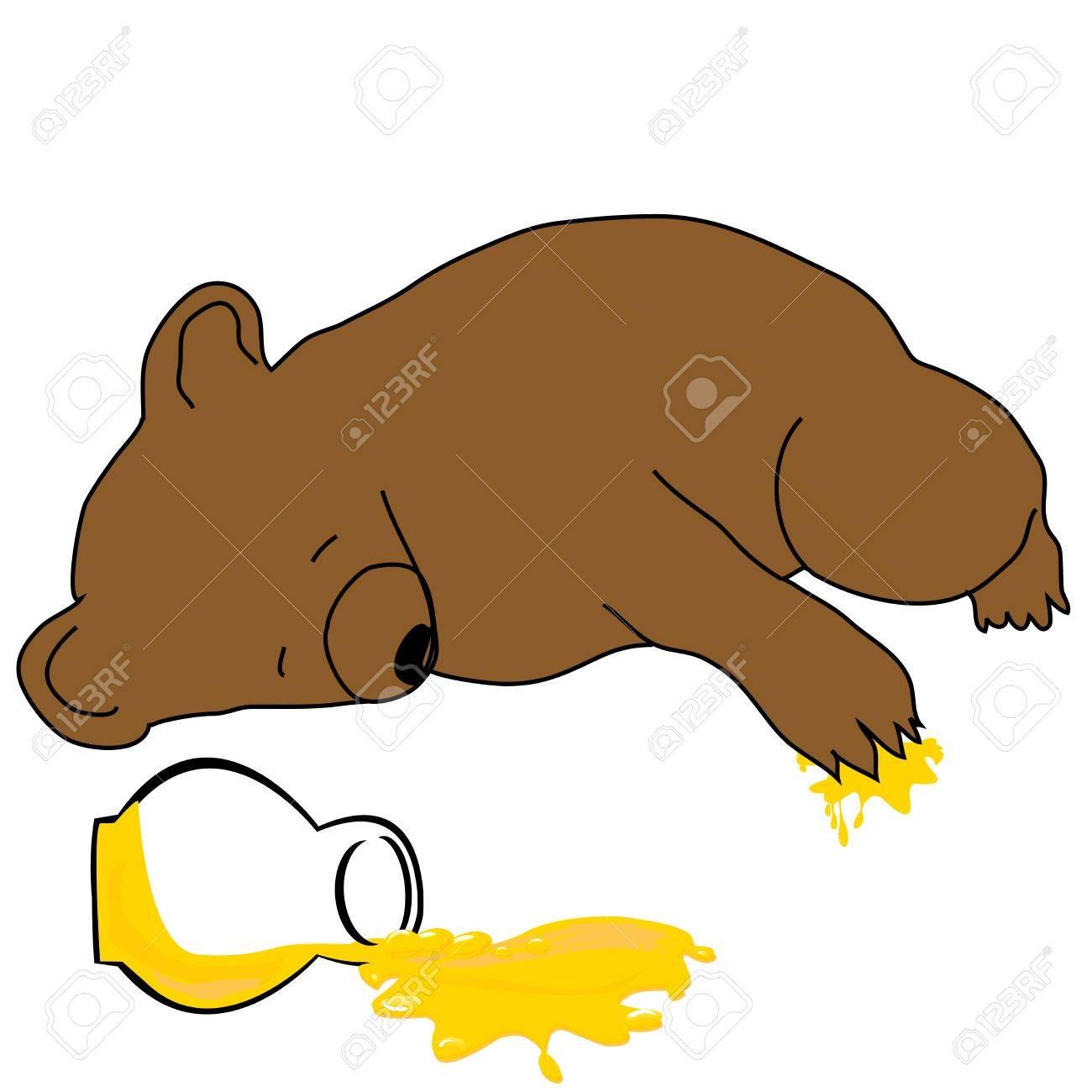 1300x1300 Sleeping Bear With A Jar Of Honey Royalty Free Cliparts, Vectors