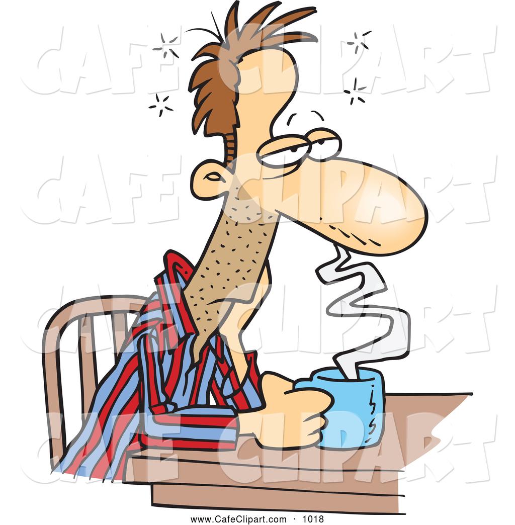 1024x1044 Vector Cartoon Clip Art of a Tired Cartoon Sleepy Man Sitting with