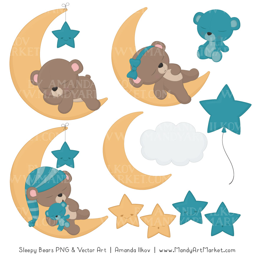 864x864 Vintage Blue Sleepy Bears Clipart