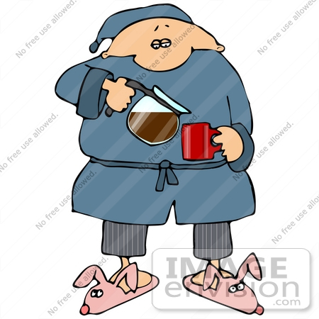 450x450 Clip Art Graphic Of A Sleepy Man In A Robe And Bunny Slippers