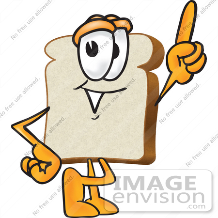 450x450 Clip Art Graphic Of A White Bread Slice Mascot Character Pointing