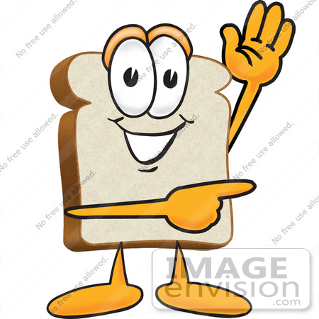 450x450 Clip Art Graphic Of A White Bread Slice Mascot Character Waving