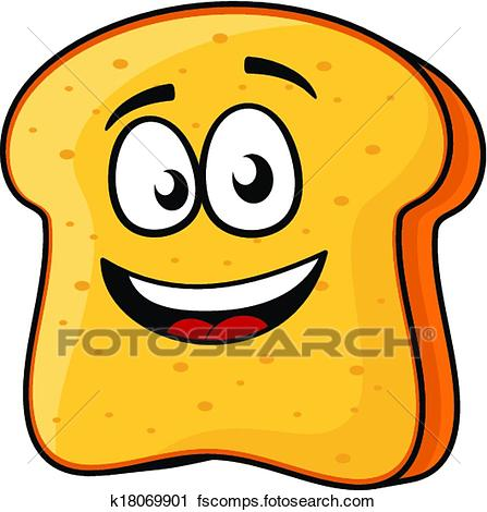447x470 Clipart Of Slice Of Bread Or Toast With A Beaming Smile K18069901