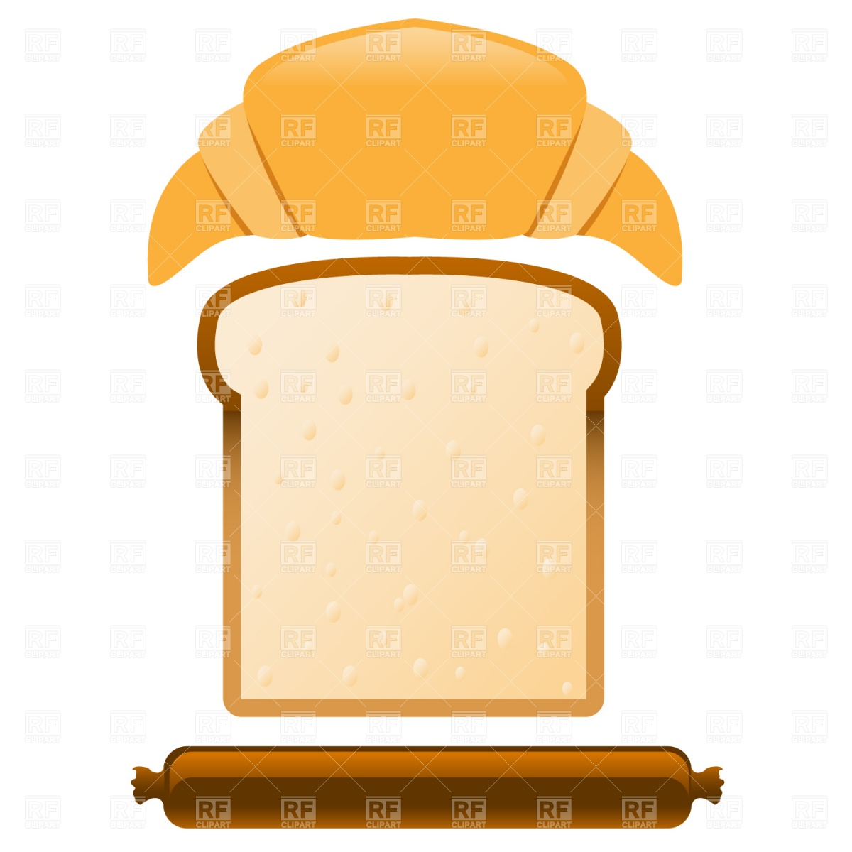 1200x1200 Croissant, Slice Of Bread And Sausage Royalty Free Vector Clip Art