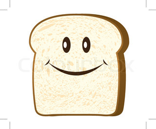320x264 Single Slice Of Wholemeal White Bread With Crust Stock Vector
