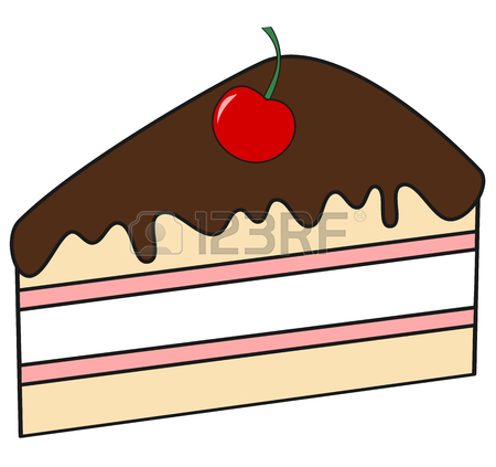 450x423 Cute Cartoon Slice Of Cake With Chocolate And Cherry Vector