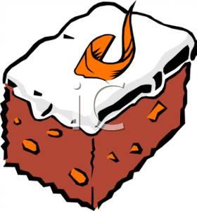 280x300 Slice Of Cake And Vanilla Icing Clip Art Image