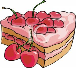 300x268 Slice Of Cherry Cake Clip Art Image