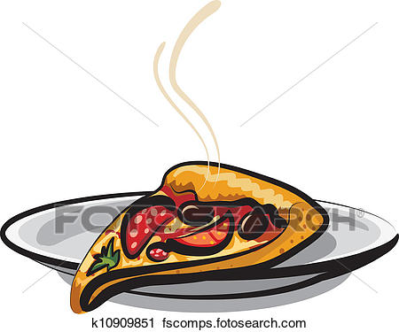 450x375 Clipart Of Slice Of Pizza K10909851