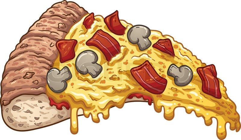 800x466 Slice Of Bacon Pizza. Vector Clip Art Illustration With Simple