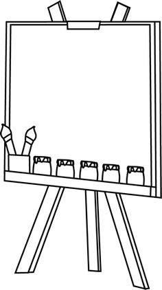 236x422 Girl Painting Easel Clip Art Black And White Girl Painting