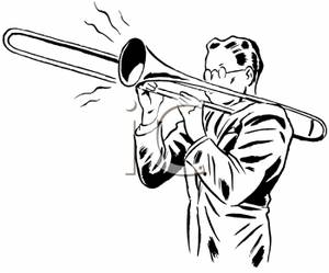 300x249 And White Man Playing Trombone Clip Art Image