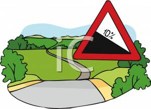 300x217 Downhill Slope Road Sign