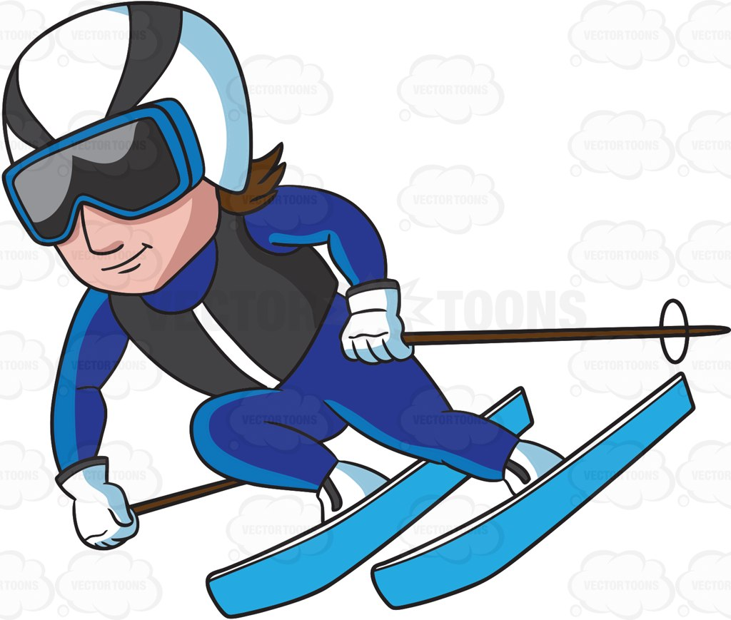 1024x869 A Male Skier Gliding Down The Alpine Slope Cartoon Clipart