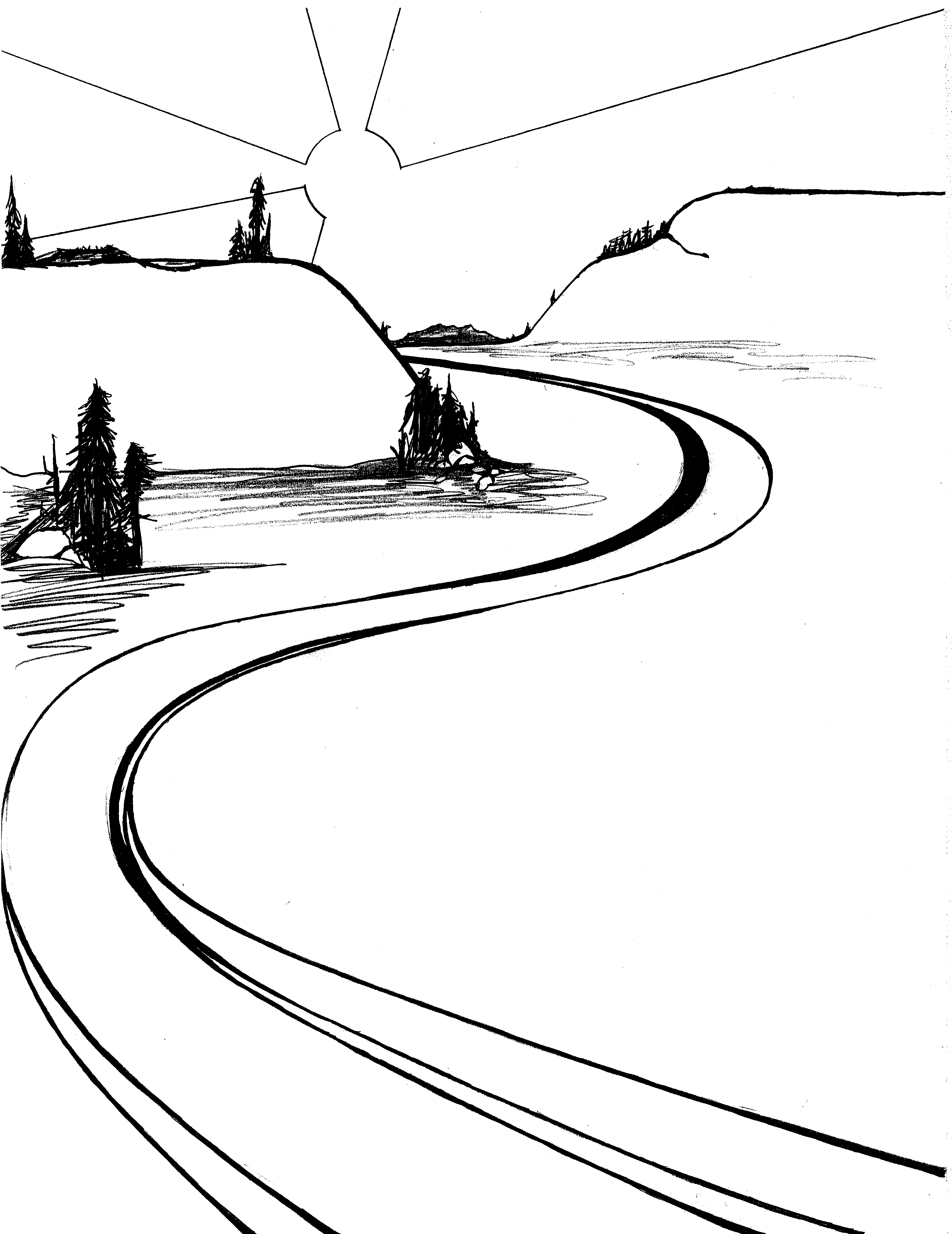 3168x4104 River Clipart Black And White