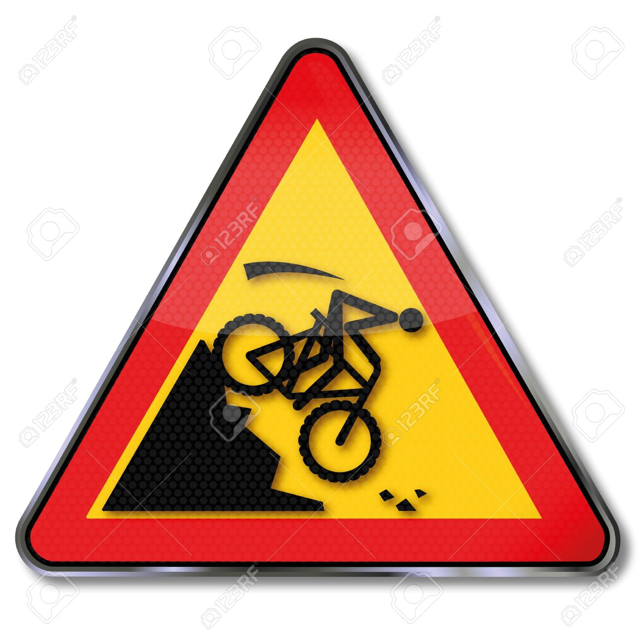1300x1295 Warning Sign On The Slope Of A Mountain Bike Crash Royalty Free