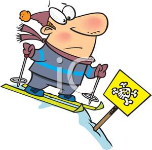 300x296 Colorful Cartoon Of A Man Skiing Headed For A Dangerous Slope