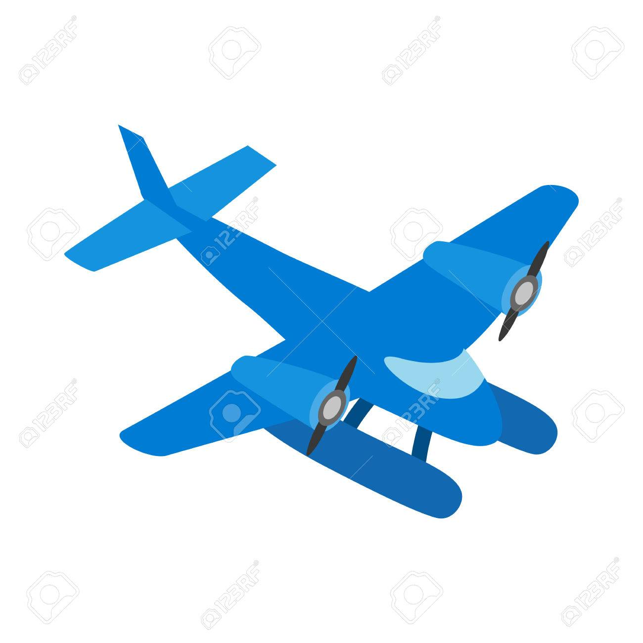 1300x1300 Blue Small Plane Icon In Isometric 3d Style Isolated On White