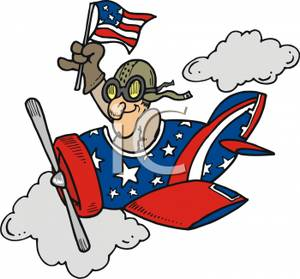 300x279 Pilot Flying A Small Plane Decorated In Stars And Stripes Clipart
