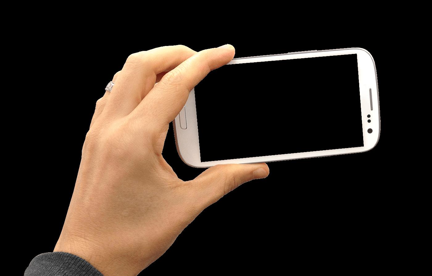 1400x895 Hand Holding Smartphone Landscape Transparent Png