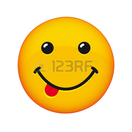 450x450 Yummy Emoji Smile Face Banner. Yummy Emoji Face With Tongue