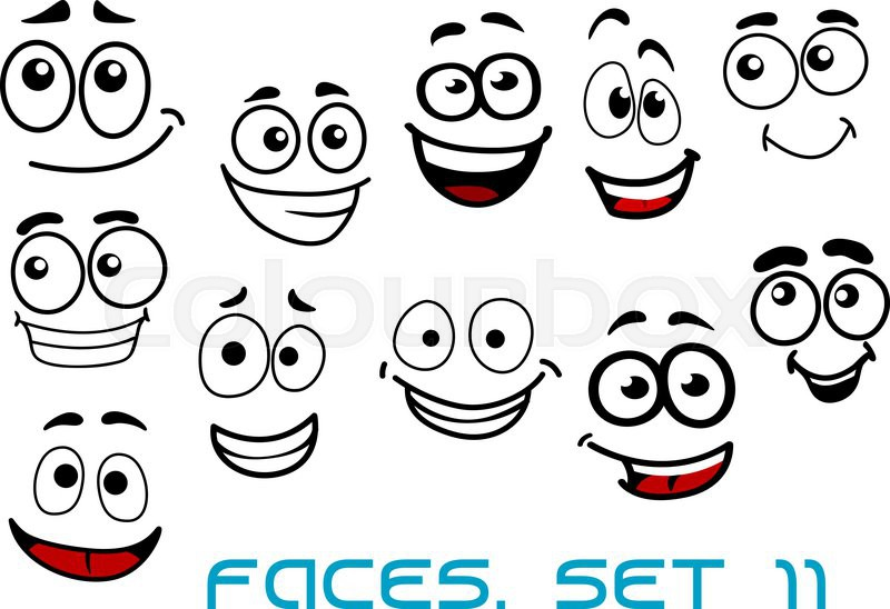 800x548 Cartoon Emotional Funny Faces Characters With Cheerful, Joyful