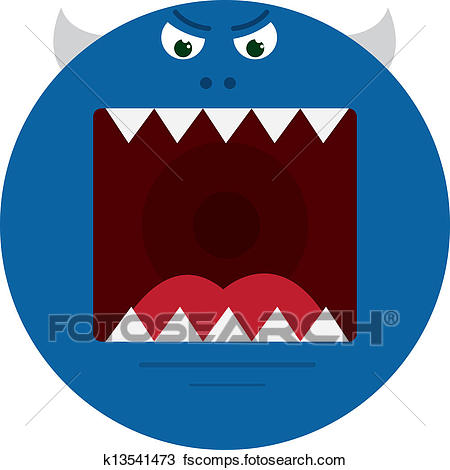 450x470 Clipart Of Monster Mouth Blue K13541473