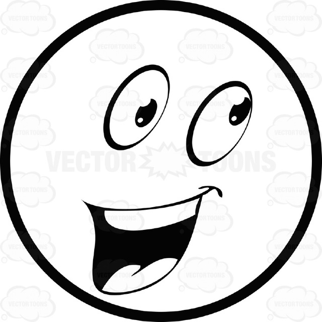 640x640 Large Eyed Black And White Smiley Face Emoticon Open Mouth, Happy