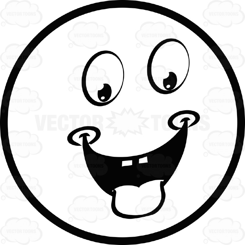 800x800 Hungry Dimpled Large Eyed Black And White Smiley Face Emoticon