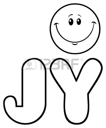 374x450 Black And White Smiley Face Cartoon Character. Illustration