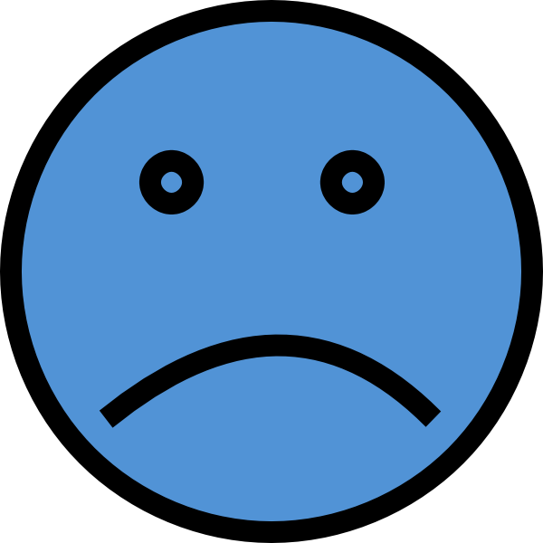 600x600 Sad Face Blue Two Clip Art