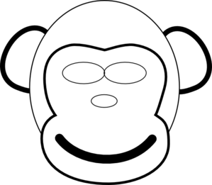299x261 Monkey Face Clip Art Black And White Clipart Panda