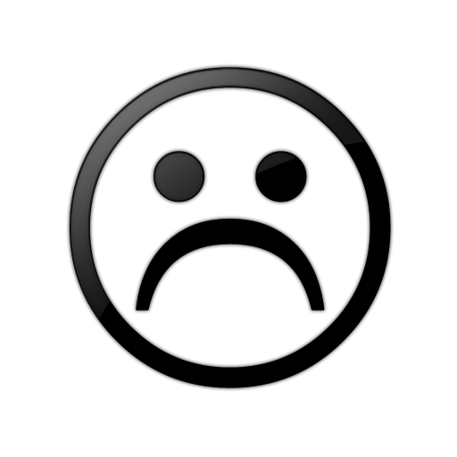 512x512 Sad Face Smiley Face Black And White Clipart
