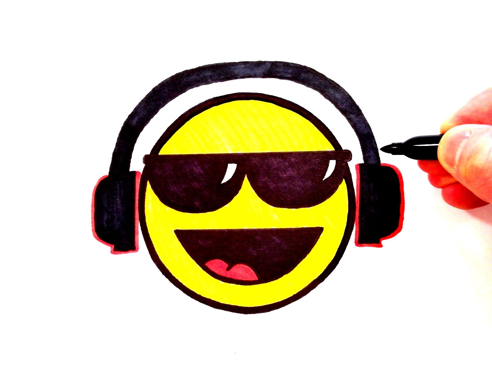 1632x1224 How To Draw A Cool Smiley Face With Sunglasses And Head Phones