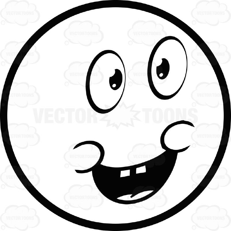 800x800 Joyful Large Eyed Black And White Smiley Face Emoticon Chubby