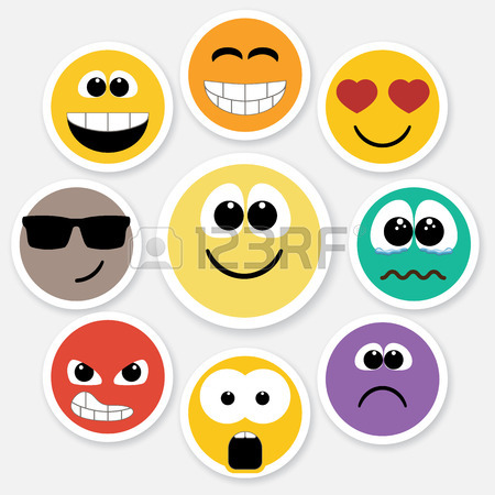 450x450 Set Of Different Emotions, Smiley Faces Expressing Different