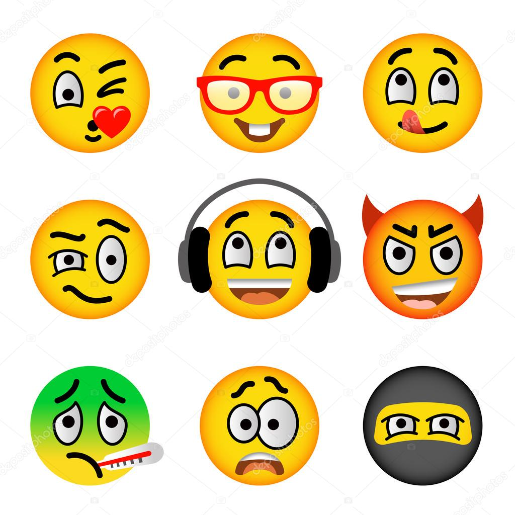 1024x1024 Smiley Face Emoji Flat Vector Icons Set Stock Vector